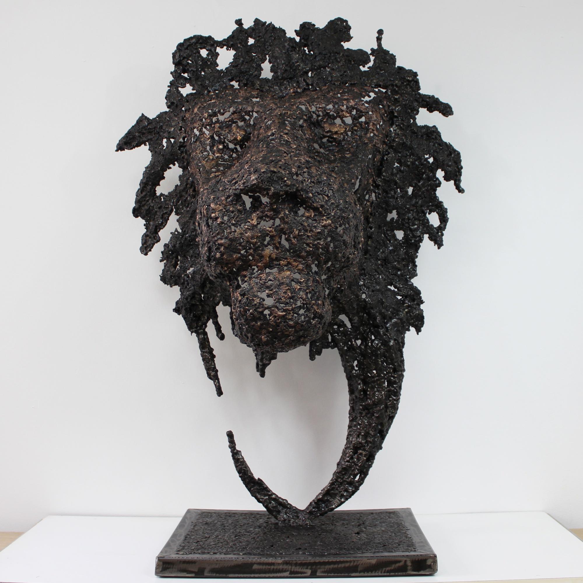 Tete de Lion - Sculpture animal tete de lion en acier bronze - a