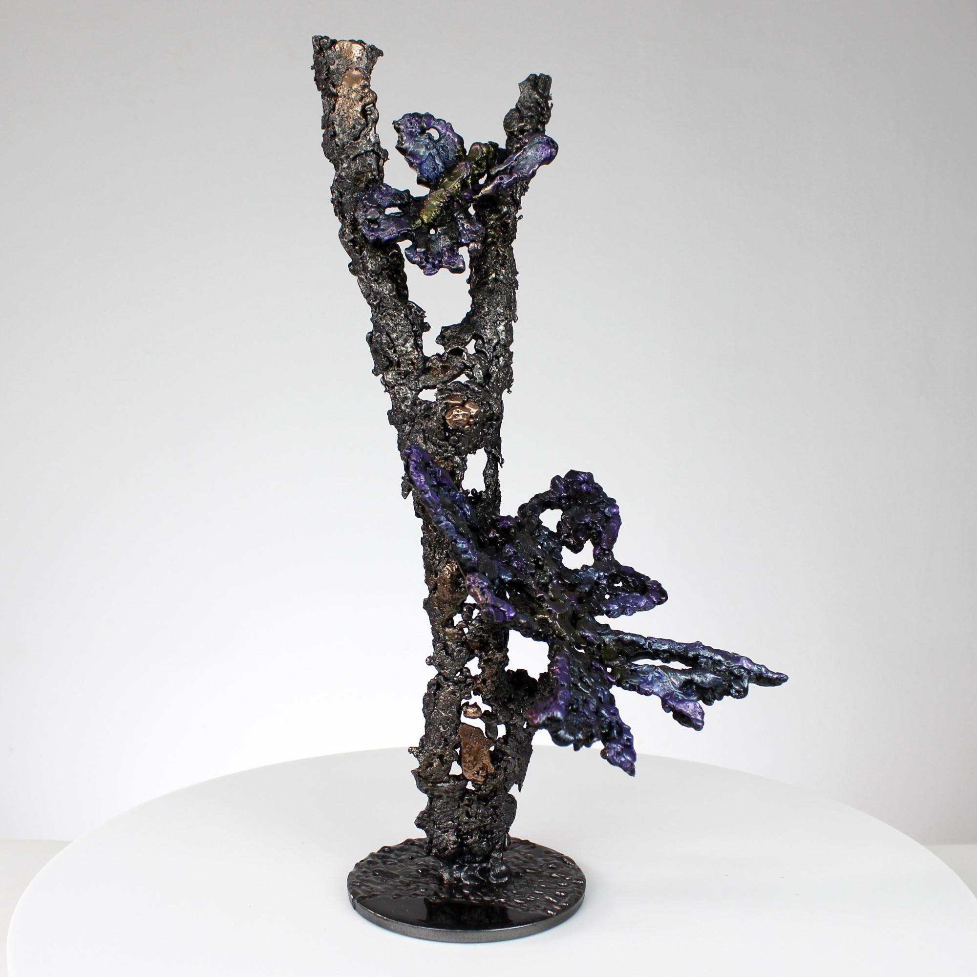 L'arbre aux papillons - Sculpture animaliere papillons sur d'un arbre acier bronze et pigment- butterflies on a tree bronze steel and pigment - Buil