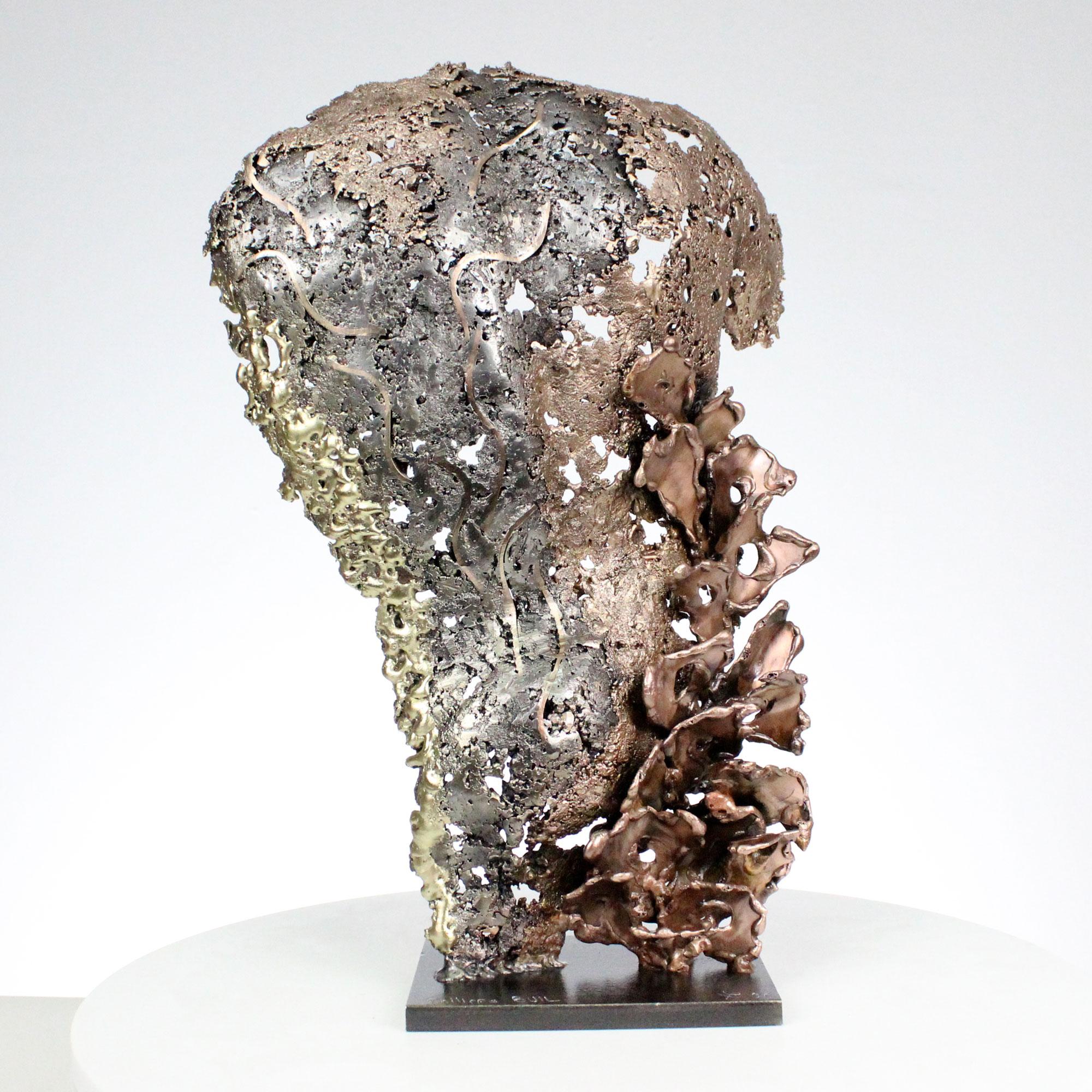pavarti robins sculpture torse métal homme en dentelle acier bronze laiton - parvati robins sculpture torso metal man in lace steel bronze brass - Philippe Buil