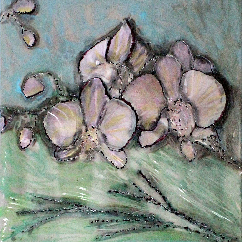 Tableau orchidée Acier encre vernis , orchid wall sculpture Steel ink varnish Philippe Buil