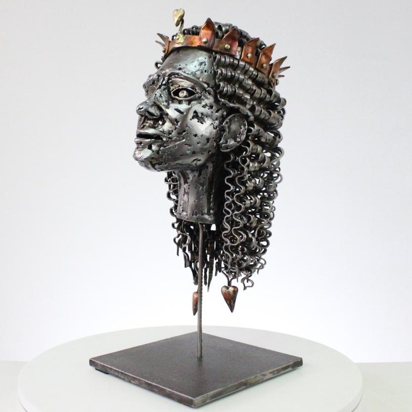 Sculptures metal de Sébastien Ruiz Le roi coeur
