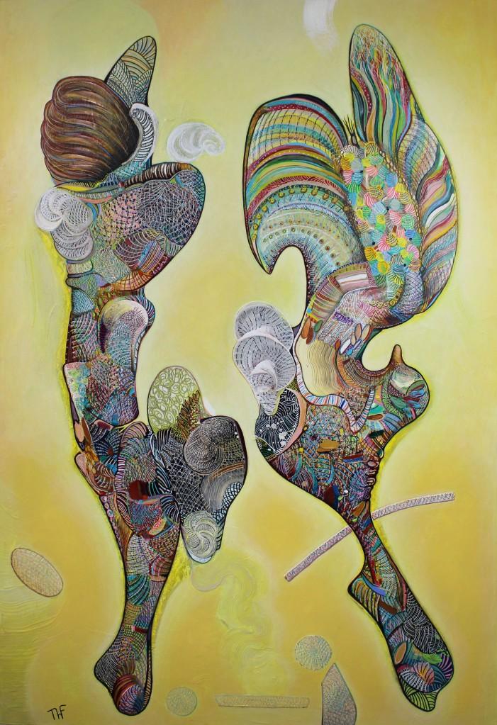 Ange et Agneau - Peinture de Thierry Fabre - Exposition Galerie Art Plur